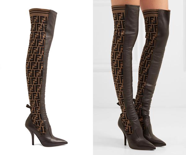 FENDI Rockoko针织皮革过膝长靴RMB12,680