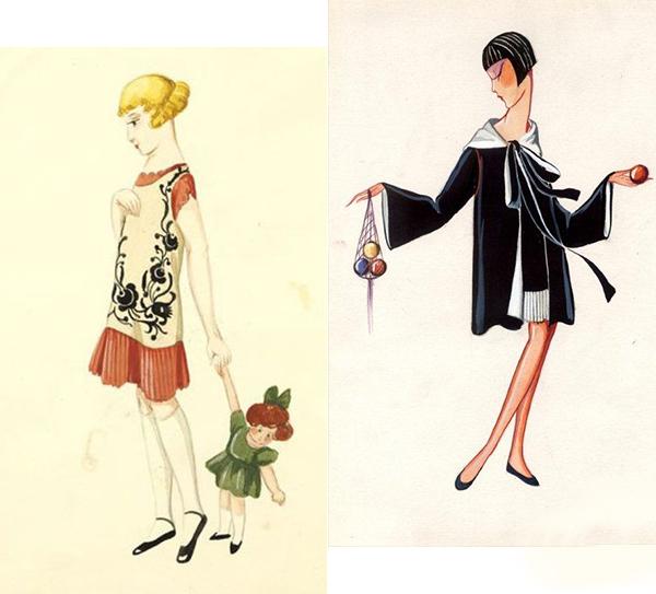 Jeanne Lanvin设计的童装手绘效果图
