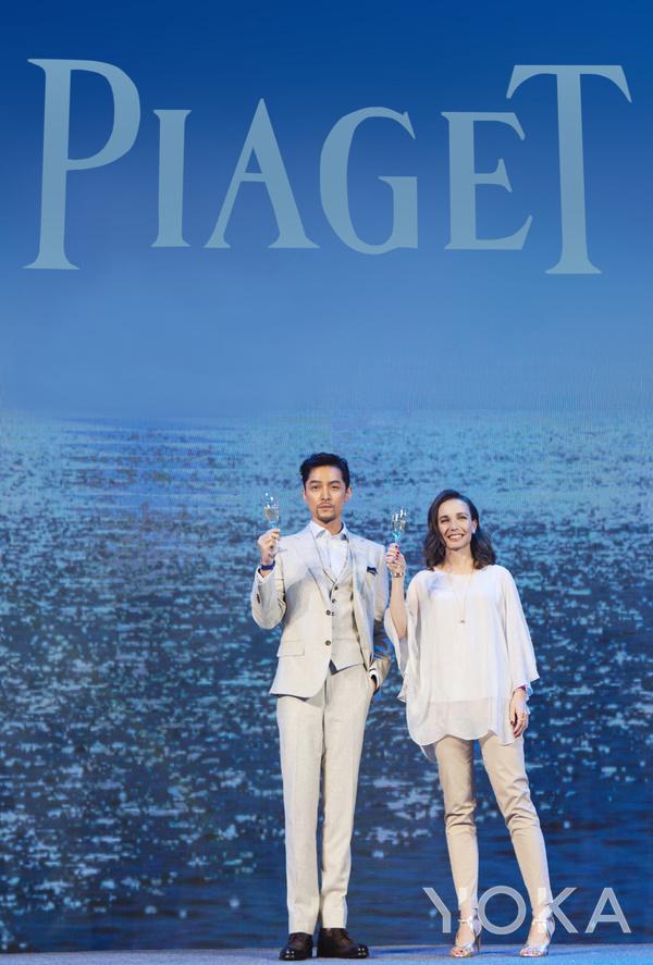 Piaget伯爵珠宝与高级珠宝市场总监Maria Laffont女士与Piaget伯爵品牌大使胡歌亮相Possession时来运转系列发布会(图片来源于品牌)