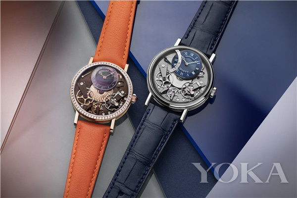 单品推荐:宝玑Tradition传世系列7097自动逆跳秒针腕表与7038女士腕表(图片来源于品牌)