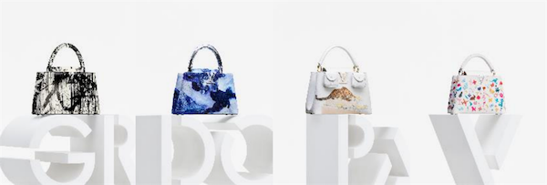 艺术家Gregor Hildebrandt、Donna Huanca、Vik Muniz和Paola Pivi设计的路易威登ArtyCapucines手袋
